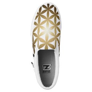 Golden Flower of Life Zips Slip On Shoes