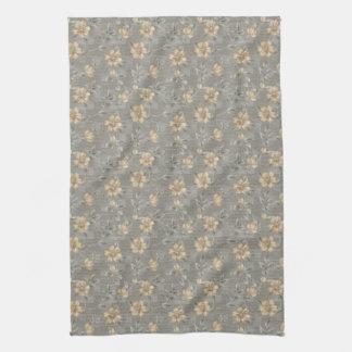 Golden Flower Pattern Kitchen Towel