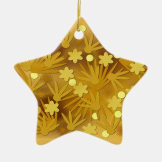 Golden flowers christmas ornament