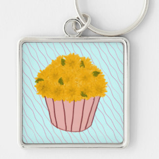 Golden Flowers Cupcake Keychain