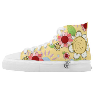 Golden Flowers High Tops Printed Shoes