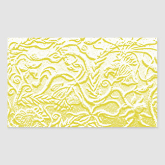 Golden flowers rectangular sticker