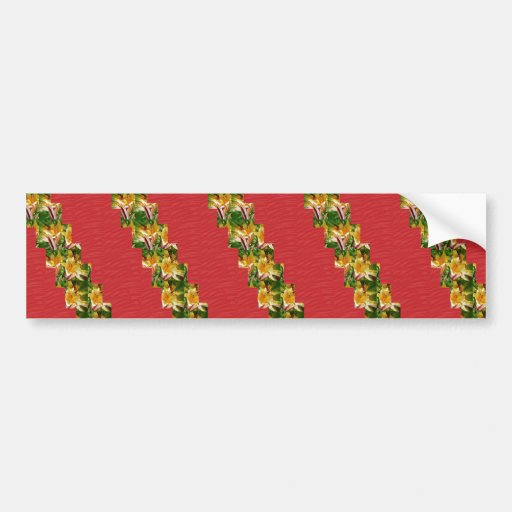 Golden Flowers  Red Silky Fabric Look ART lowprice Bumper Stickers