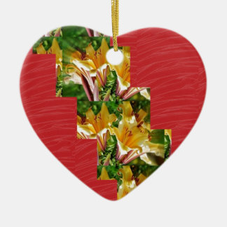 Golden Flowers  Red Silky Fabric Look ART lowprice Christmas Ornaments