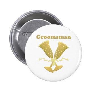 Golden Flutes Groomsman Gift 6 Cm Round Badge