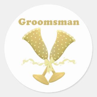 Golden Flutes Groomsman Gift Round Stickers