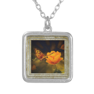 Golden Flying Butterfly Silver Plated Necklace