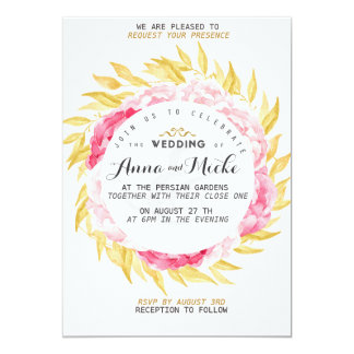 Golden Foil and pink Wedding Invite