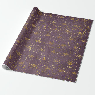 Golden Foil Crown Confetti Royal Purple Velvet Wrapping Paper