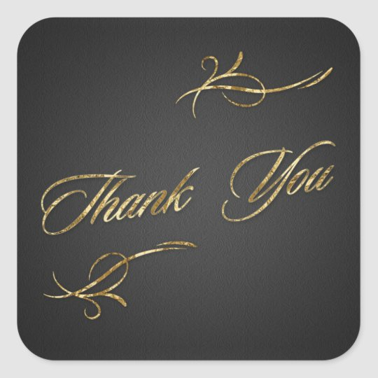 Golden foil effect Thank You Square Sticker