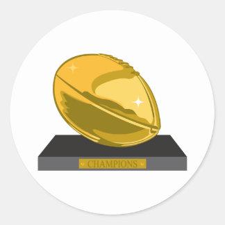 golden football champions round sticker