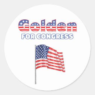 Golden for Congress Patriotic American Flag Design Round Stickers