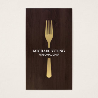 GOLDEN FORK on Dark Wood Chef, Catering Business Card