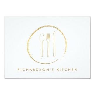 GOLDEN FORK SPOON KNIFE SKETCH LOGO for Catering 11 Cm X 16 Cm Invitation Card