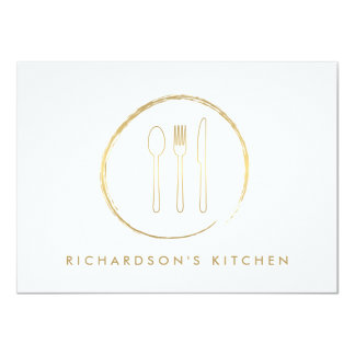 GOLDEN FORK SPOON KNIFE SKETCH LOGO for Catering Card