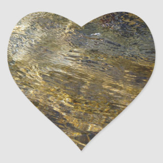 Golden Fountain Water Heart Stickers