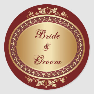 Golden Frame Bride & Groom Round Sticker