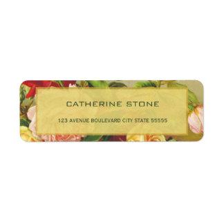 Golden frame chic vintage roses elegant wedding return address label
