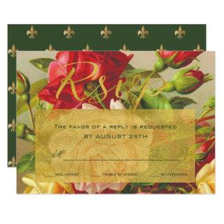 Golden frame chic vintage roses wedding rsvp card