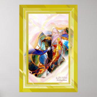 Golden Framed Koi Fish Stylish Wall Art Poster