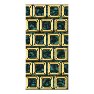 Golden frames pattern custom photo card