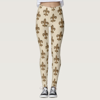 Golden French Fleur de Lis Pattern Leggings
