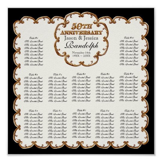 Golden French Swirl 50th Reception Seating Chart