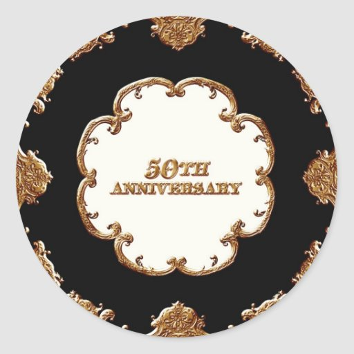Golden French Swirl Favor Gift 50th Anniversary Stickers
