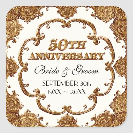 Golden French Swirl Favor Gift 50th Anniversary Sticker