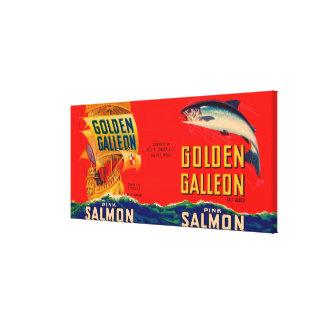 Golden Galleon Brand Salmon Label- Seattle, WA Canvas Print