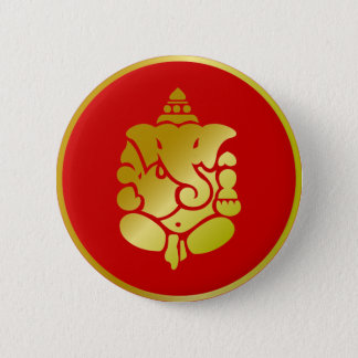 Golden Ganesha 6 Cm Round Badge