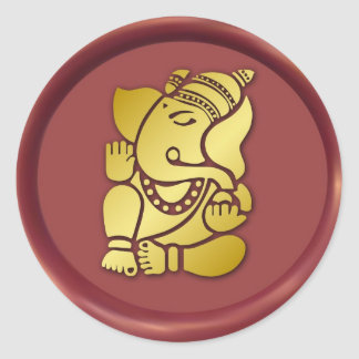 Golden Ganesha On Red Wax Seal
