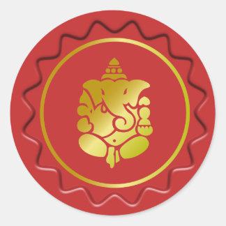 Golden Ganesha On Red Wax Seal Round Sticker