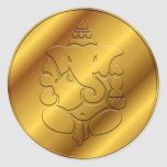 Golden Ganesha Round Sticker