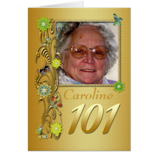 Golden Garden 101st Photo Birthday Card