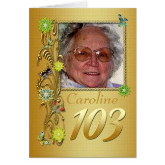 Golden Garden 103rd Photo Birthday Card