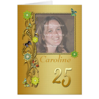 Golden Garden 25th Photo Birthday Card