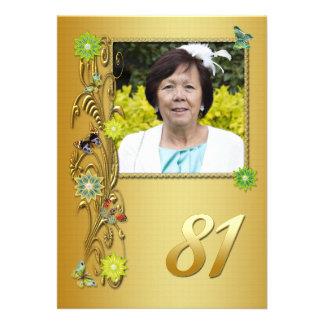 Golden Garden 81st Birthday party invitation