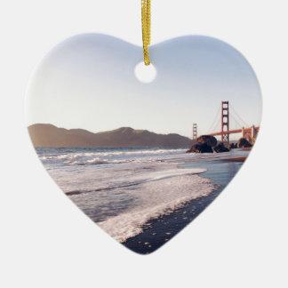 Golden Gate Bridge 2 Ceramic Heart Decoration