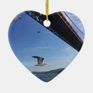 Golden Gate Bridge 3 Ceramic Heart Decoration