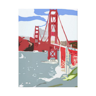 Golden Gate Bridge Abstracted Gallery Wrapped Canvas