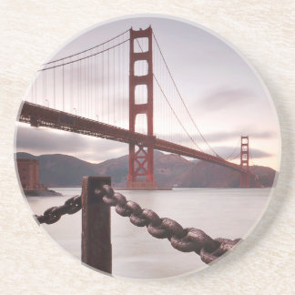 Golden Gate Bridge against mountains Coaster