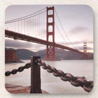 Golden Gate Bridge against mountains Coaster