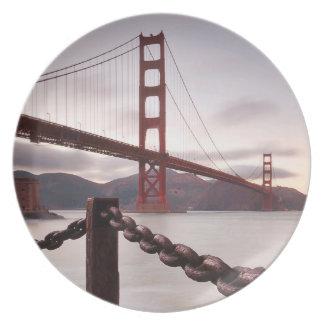 Golden Gate Bridge against mountains Plate