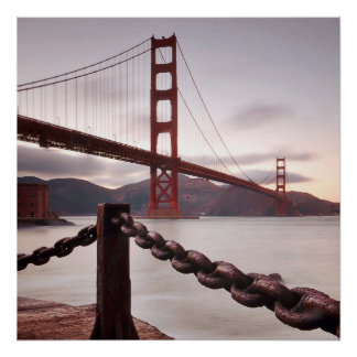 Golden Gate Bridge against mountains Poster