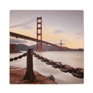 Golden Gate Bridge against mountains Wood Coaster