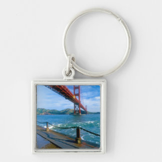Golden Gate bridge and San Francisco Bay 2 Silver-Colored Square Key Ring