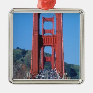 Golden Gate bridge and San Francisco Bay Silver-Colored Square Decoration
