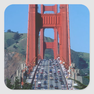 Golden Gate bridge and San Francisco Bay Square Stickers