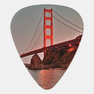 Golden Gate Bridge at Sun Down Guitar Pick